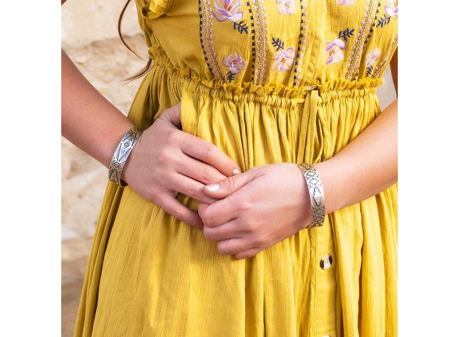 Shimmering Depths Geometric Cuff Bracelet