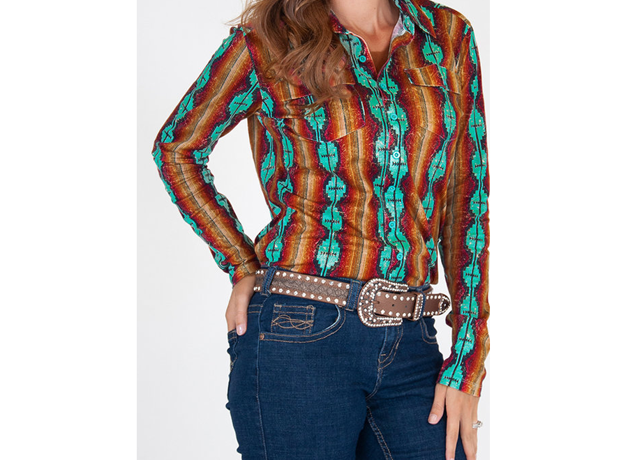 100334-Pullover Button-Up (coral and turquoise aztec print)