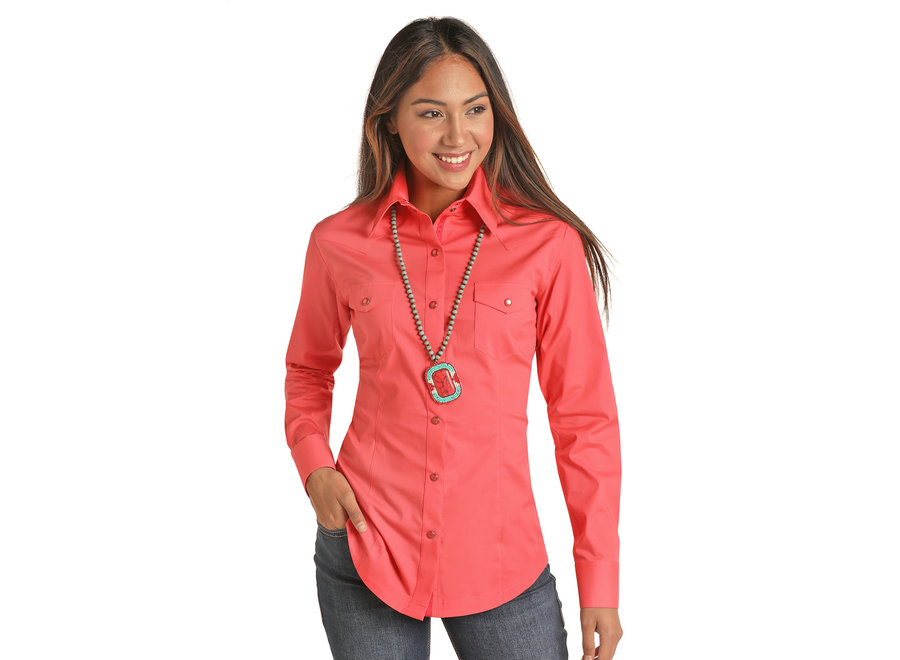 22S9341- Solid Coral Snap Long Sleeve