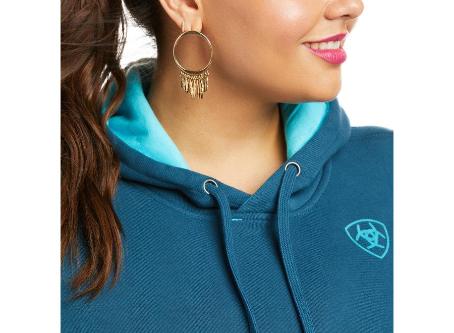 10037575 Real Turq arm logo Hoodie