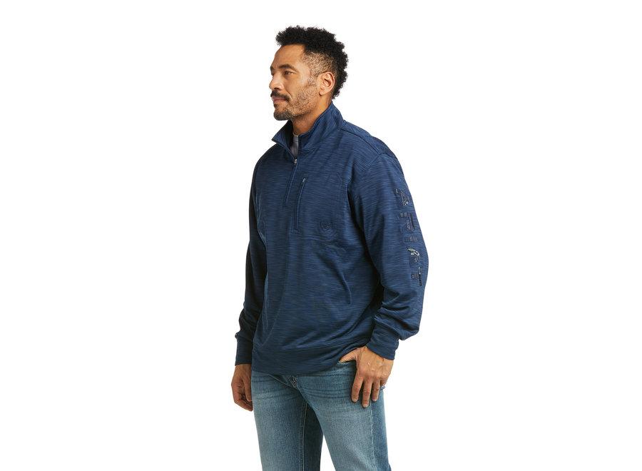 10037541- 1/4 zip indigo sweatshirt