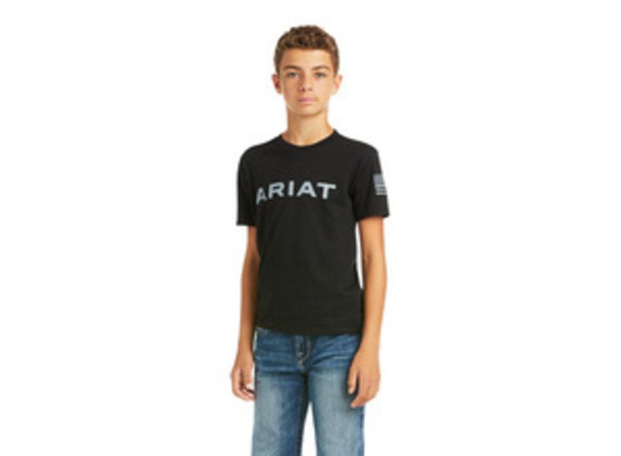 10037014 BOYS BLACK BRANDED FLAG T-SHIRT