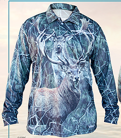 Sublimated Shirt - Red Stag - Fallow Buck - Camo Background Xtra Small