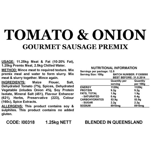 Butcher at Home Gourmet Sausage Meal Tomato & Onion GSM 1.25kg