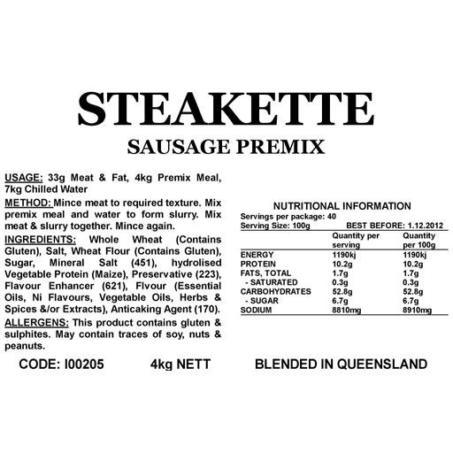 Butcher at Home Steakette Sausage Meal 4.5kg