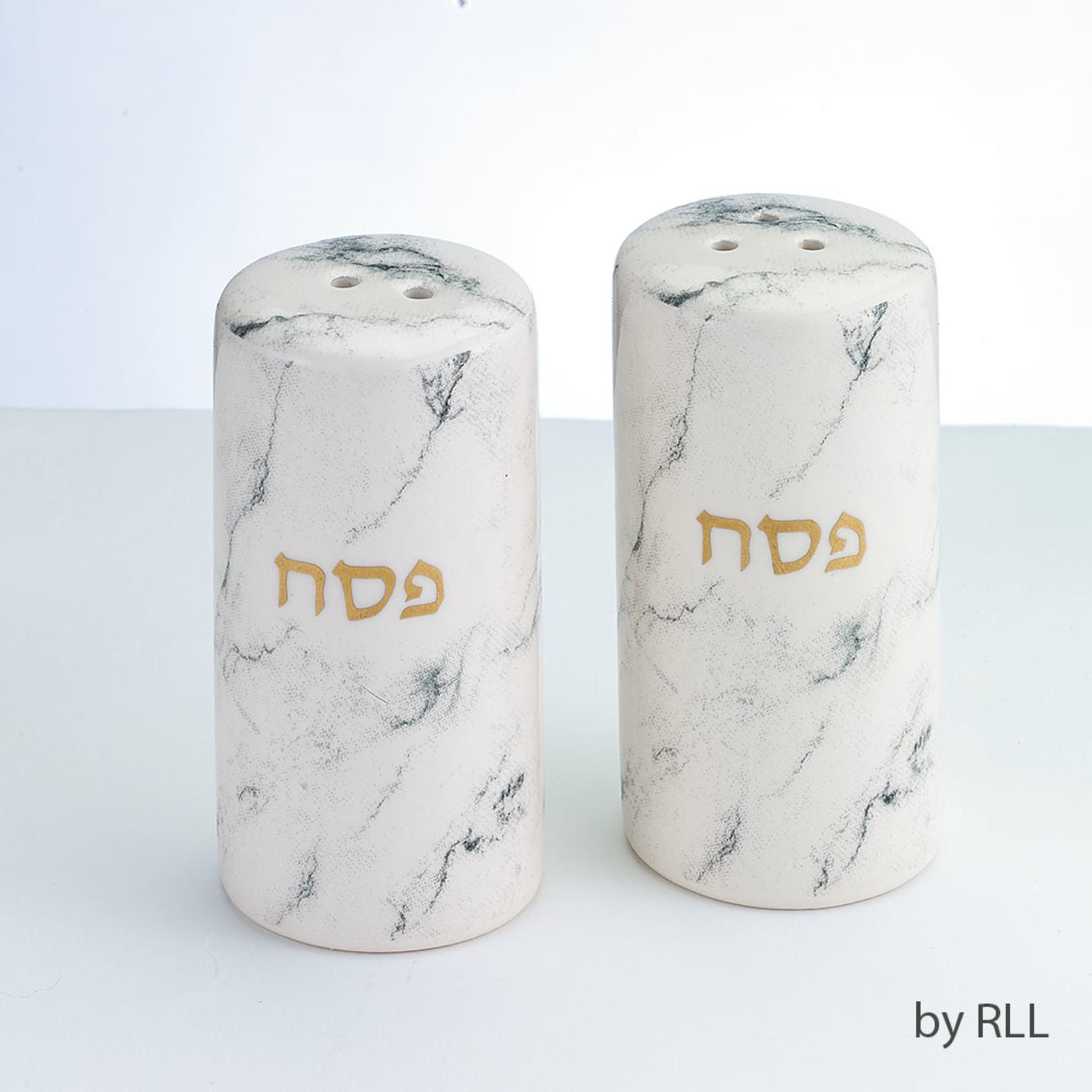 Salt & Pepper Shakers, Gold Accents, Ceramic