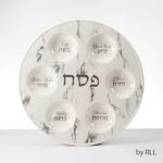 Seder Plate, Ceramic, Marble Design, 12in