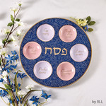 Seder Plate, Ceramic, Blue Curlicues with Gold Accents, 12in