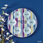 Seder Plate, Ceramic, ''Joseph's Coat'', 12in