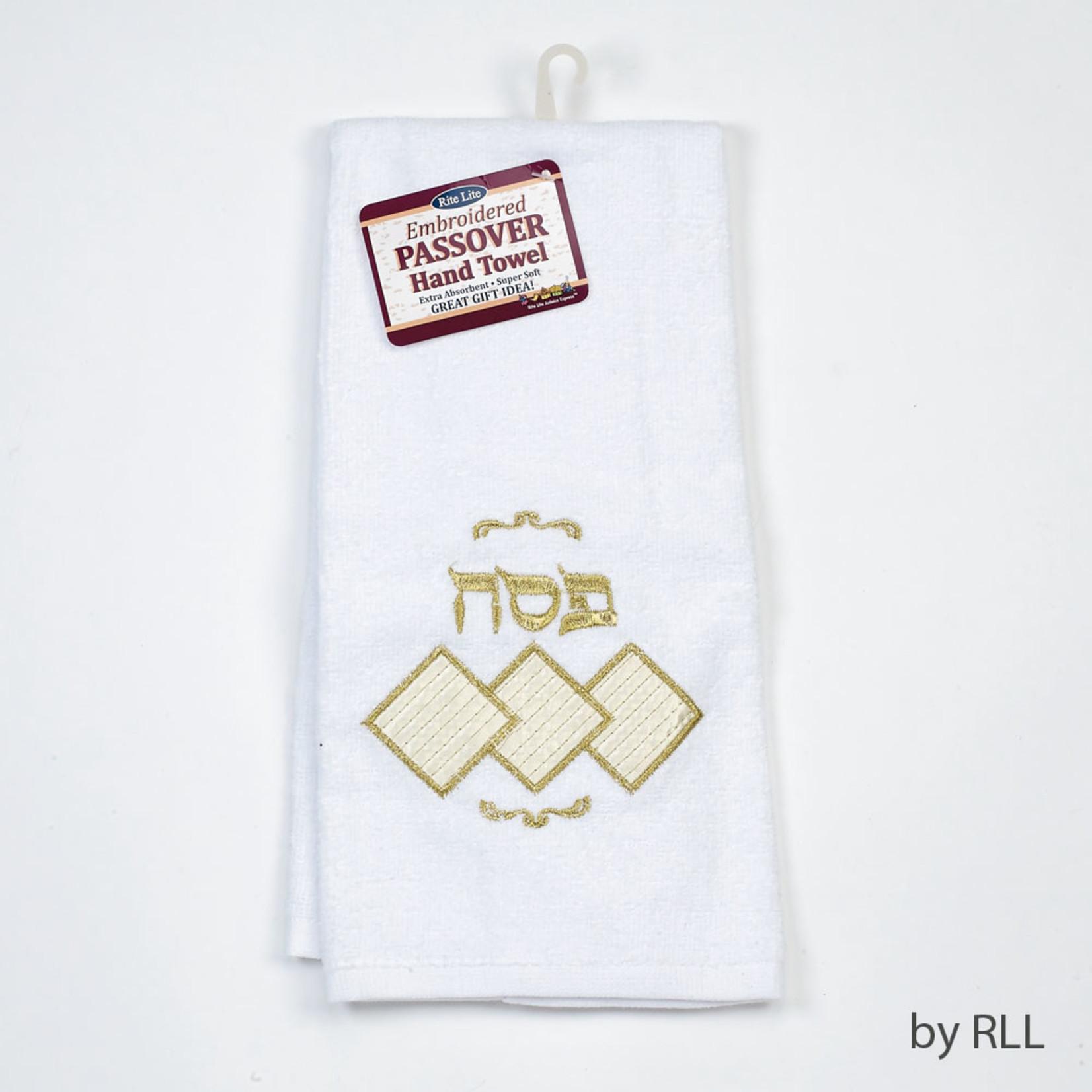 Hand Towel, Embroidered Matzah Design