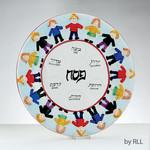Seder Plate, Ceramic, Kids Design, 14.5in