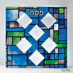Seder Plate, Glass, Stained Glass Design, 13in Square