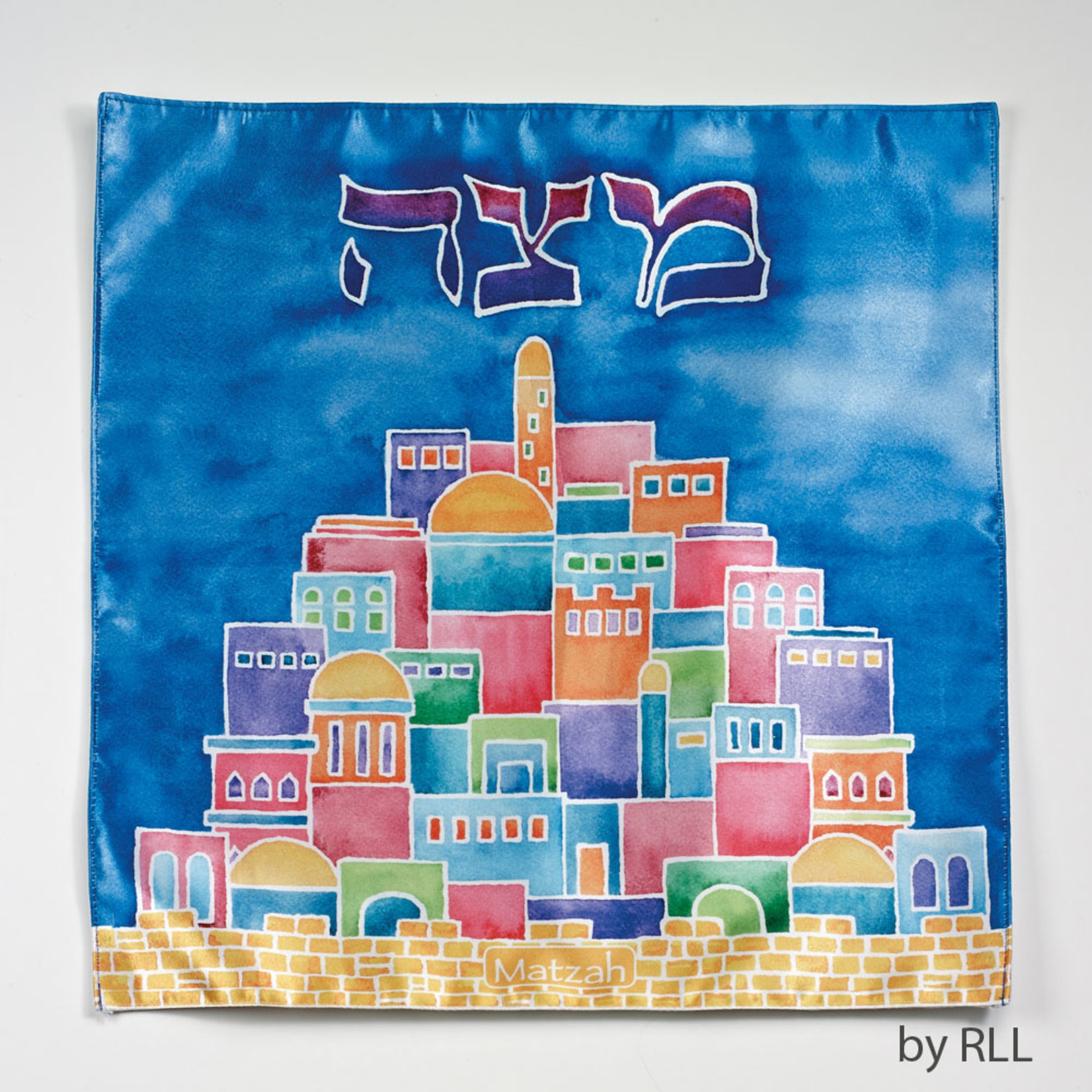 Matzah Cover, Satin, Jerusalem, 13in