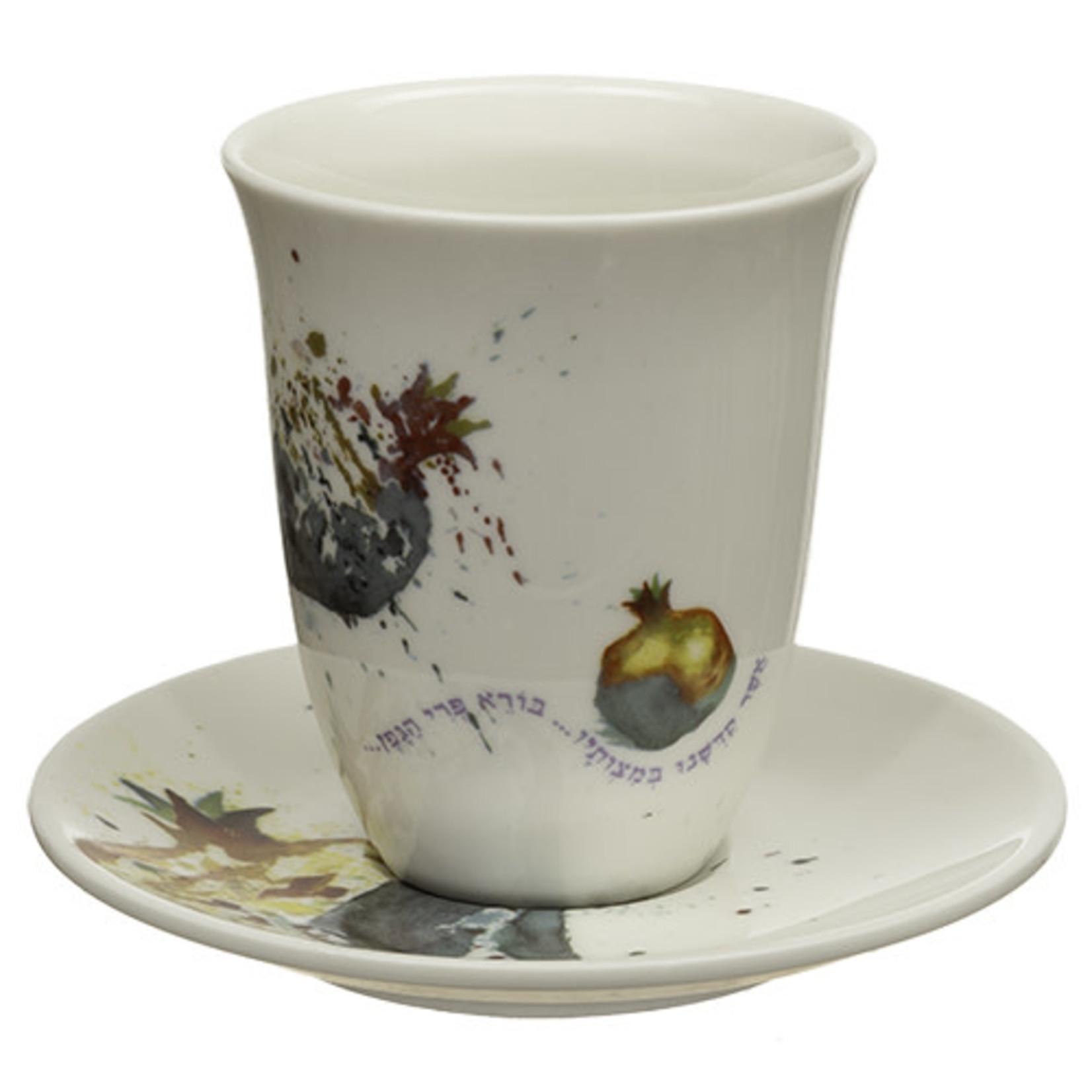 Kiddush Cup Set, Stemless, Porcelain