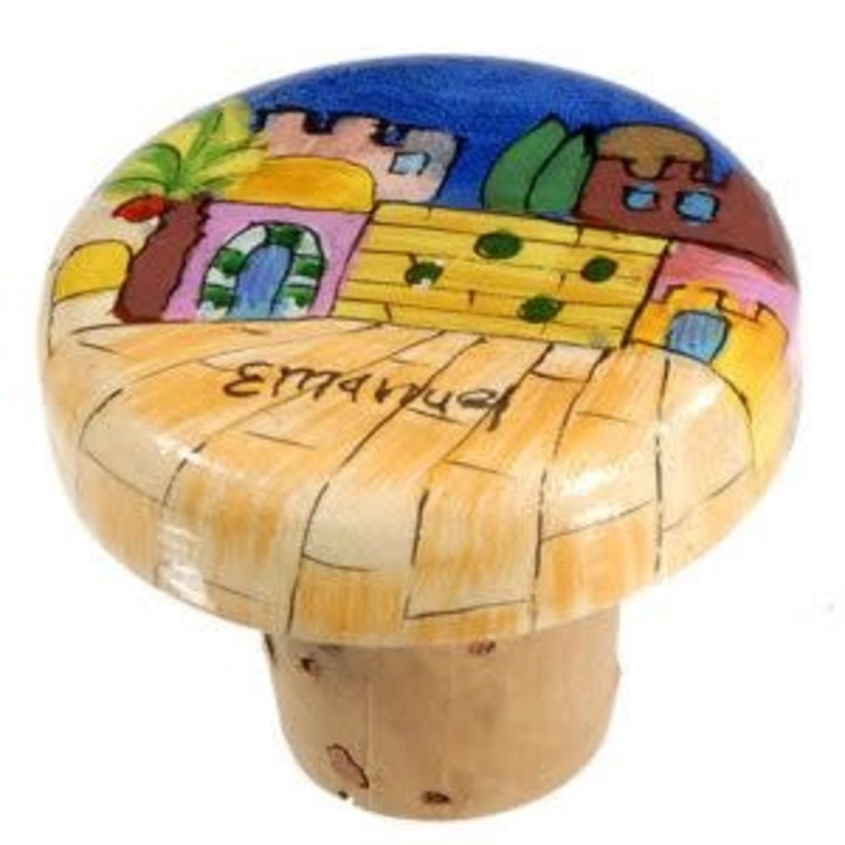 Yair Emanuel Wine Bottle Cork, Hand-Painted Wood