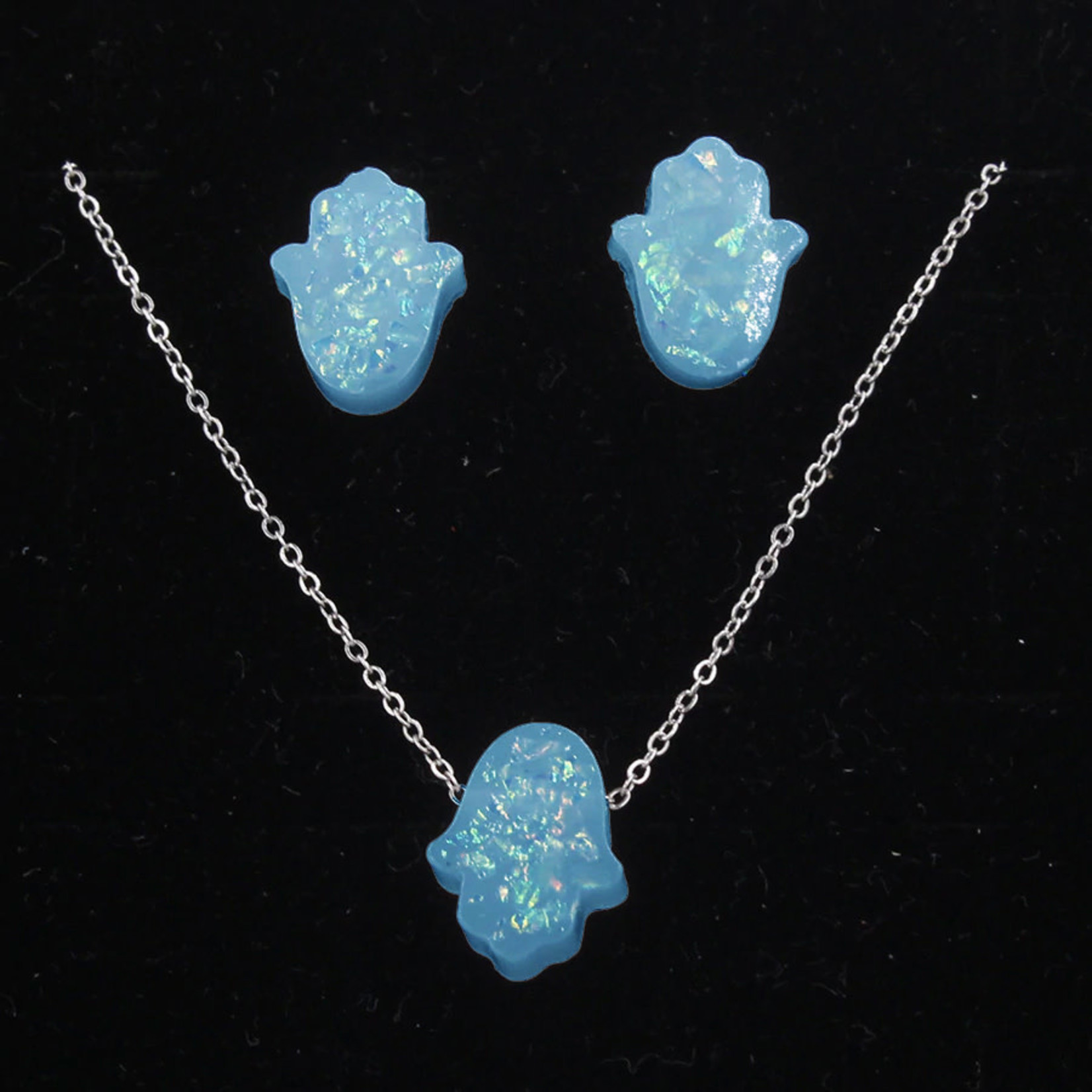 Hamsa Necklace and Earring Set