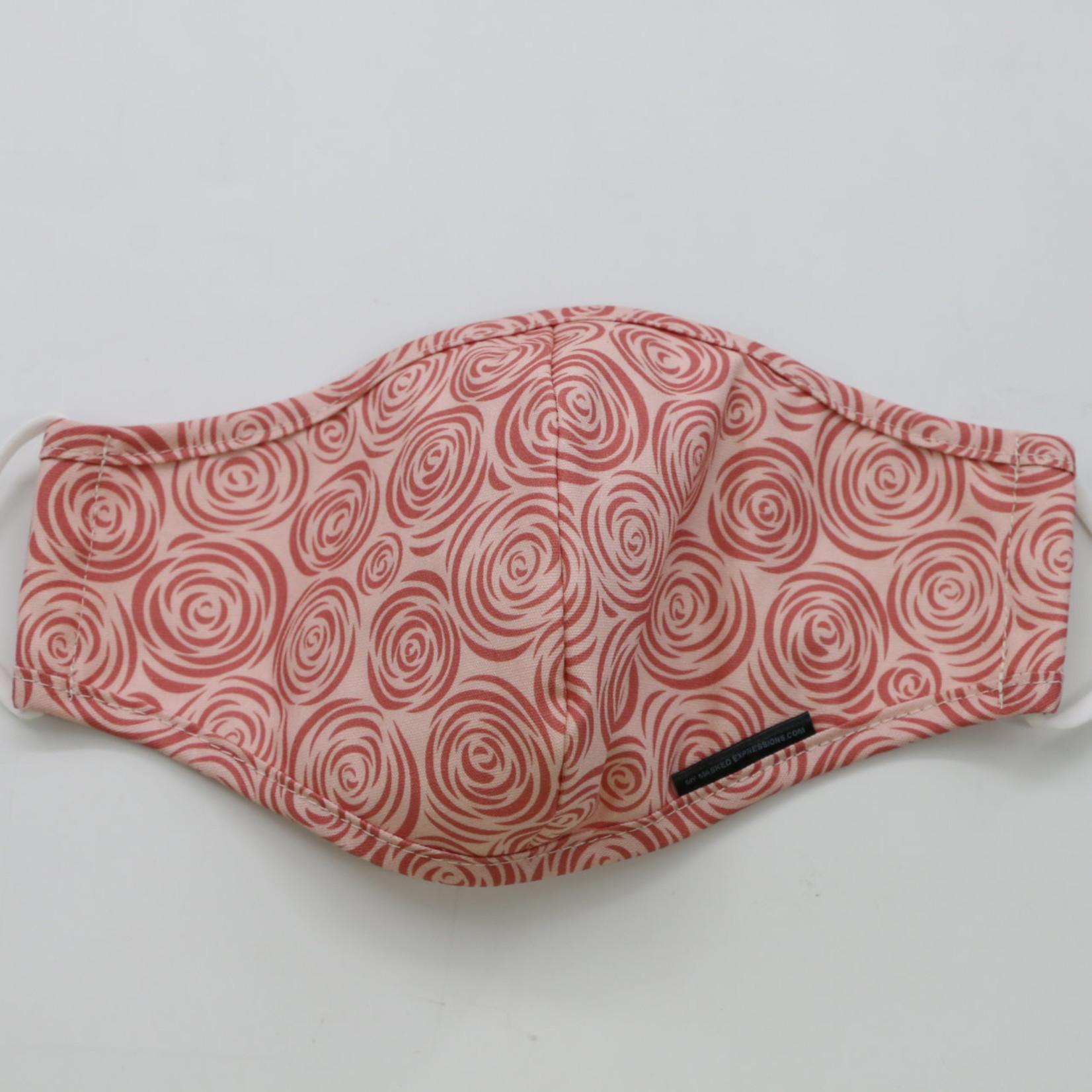 My Masked Expressions Adult Size Mask, Pink Rosebuds