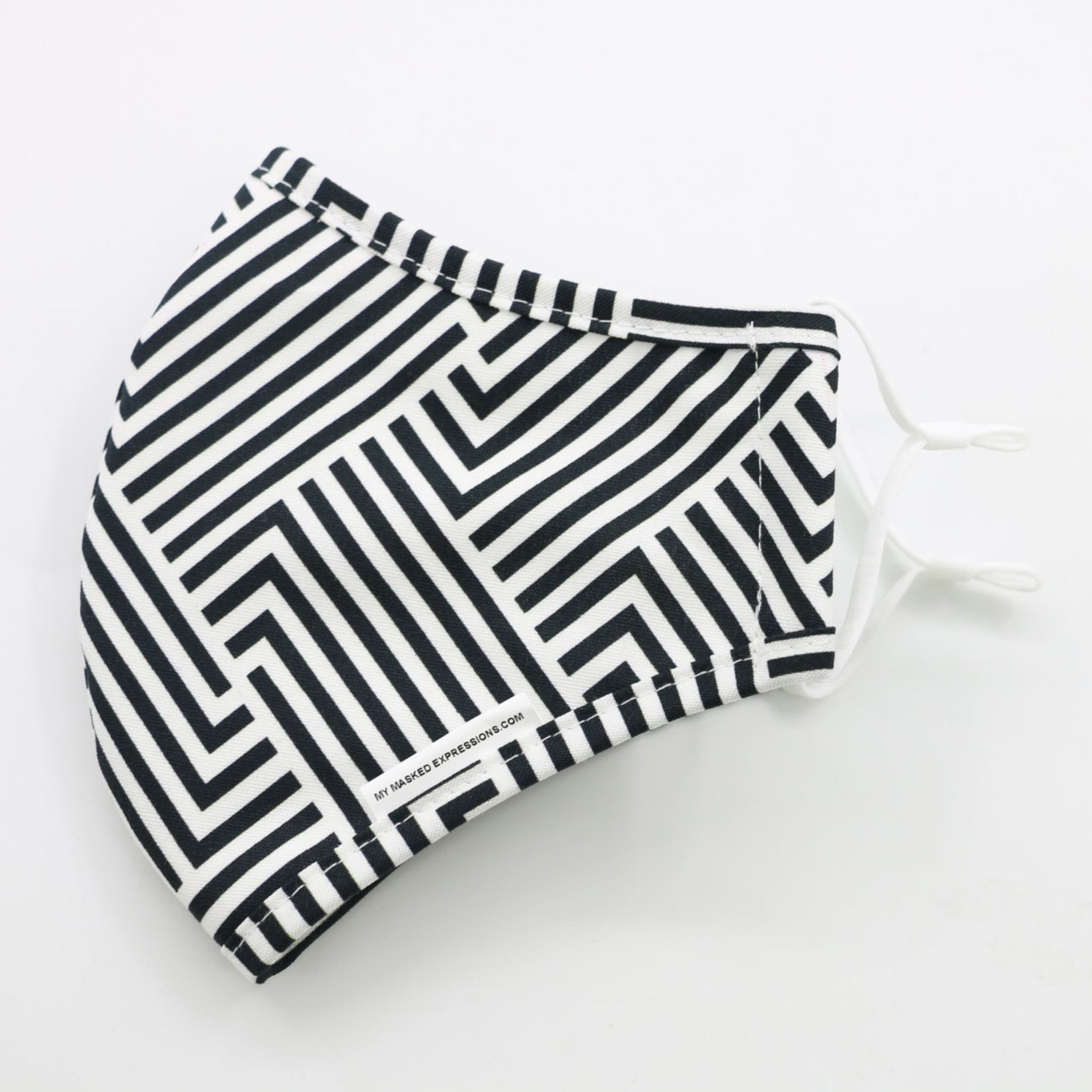 My Masked Expressions Adult Size Mask, Black and White Stripes