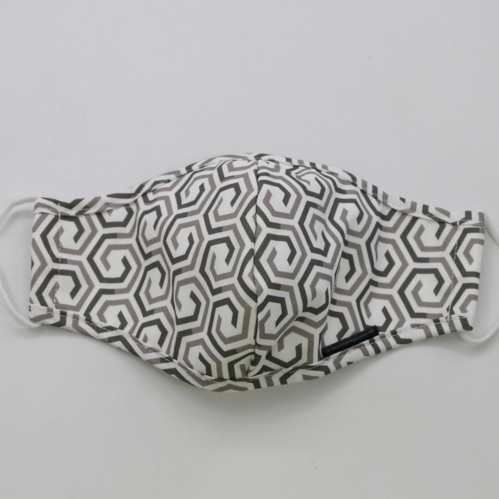 My Masked Expressions Adult Size Mask, Greyscale Honeycomb