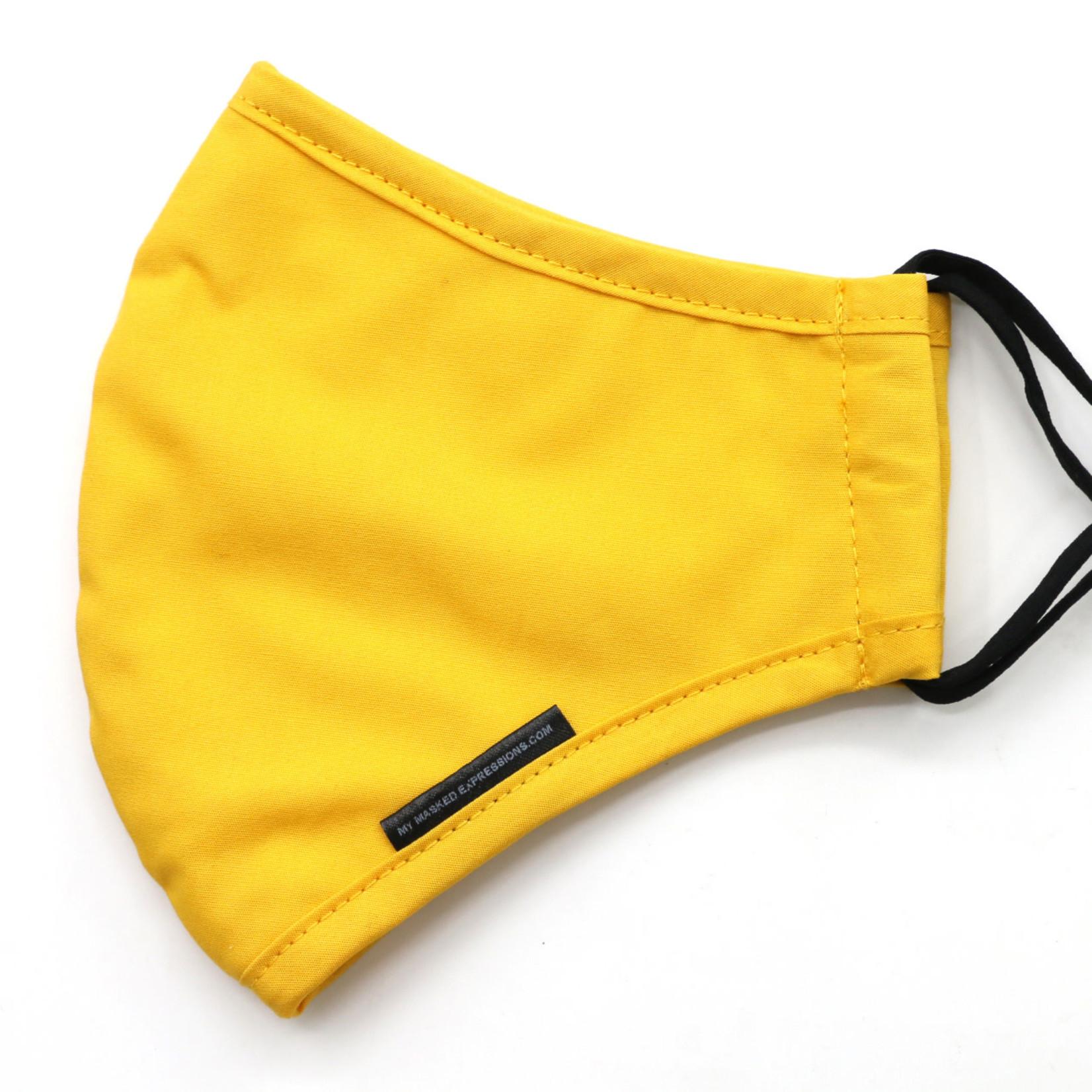 My Masked Expressions Adult Size Mask, Mustard Yellow Cotton