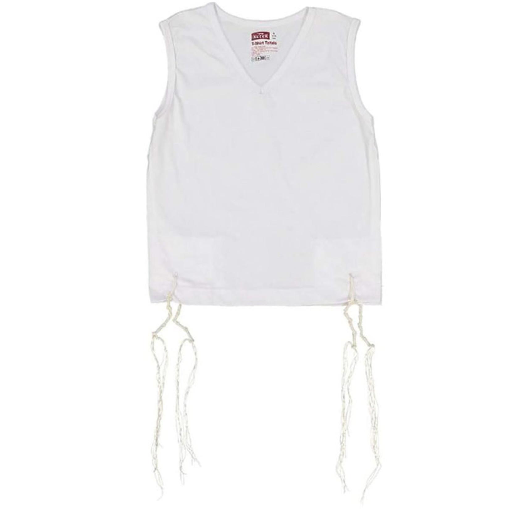 Undershirt-Style Arbah Kanfot, 100% Cotton, V-Neck, Size S