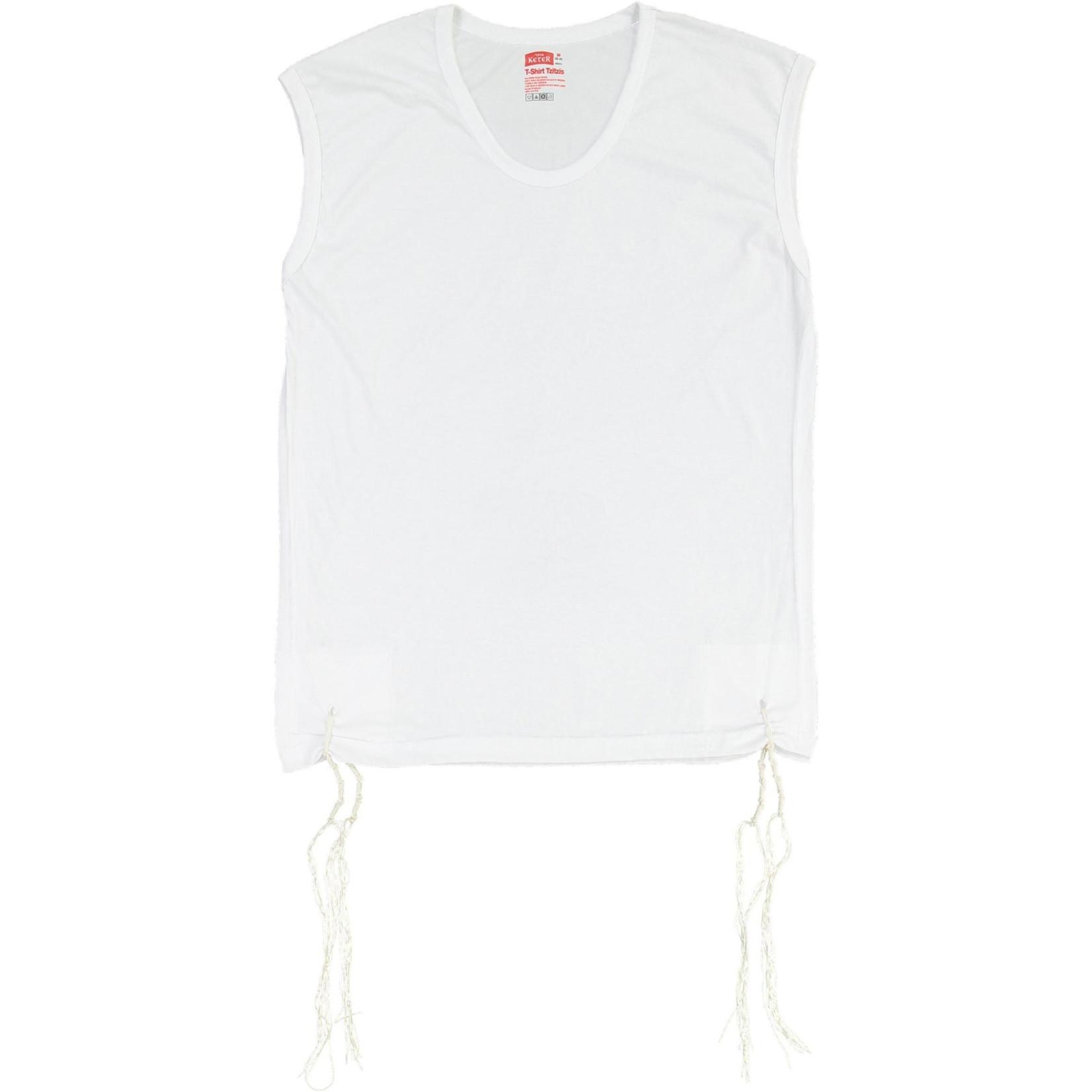 Undershirt-Style Arbah Kanfot, 100% Cotton, Round Neck, Size L