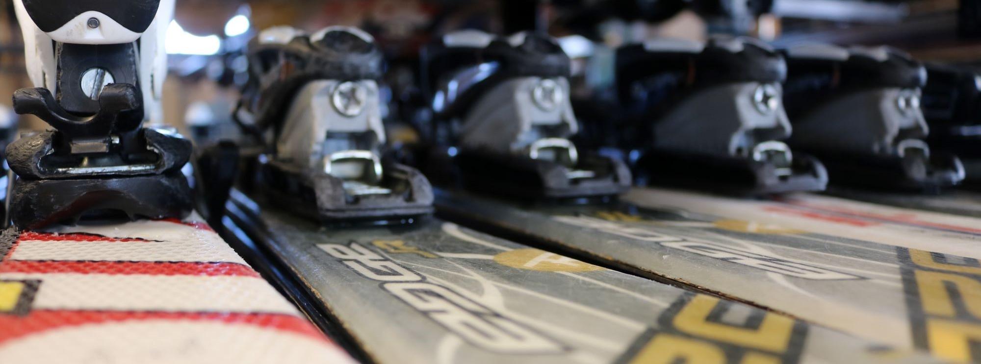 Rental Skis on a Rack