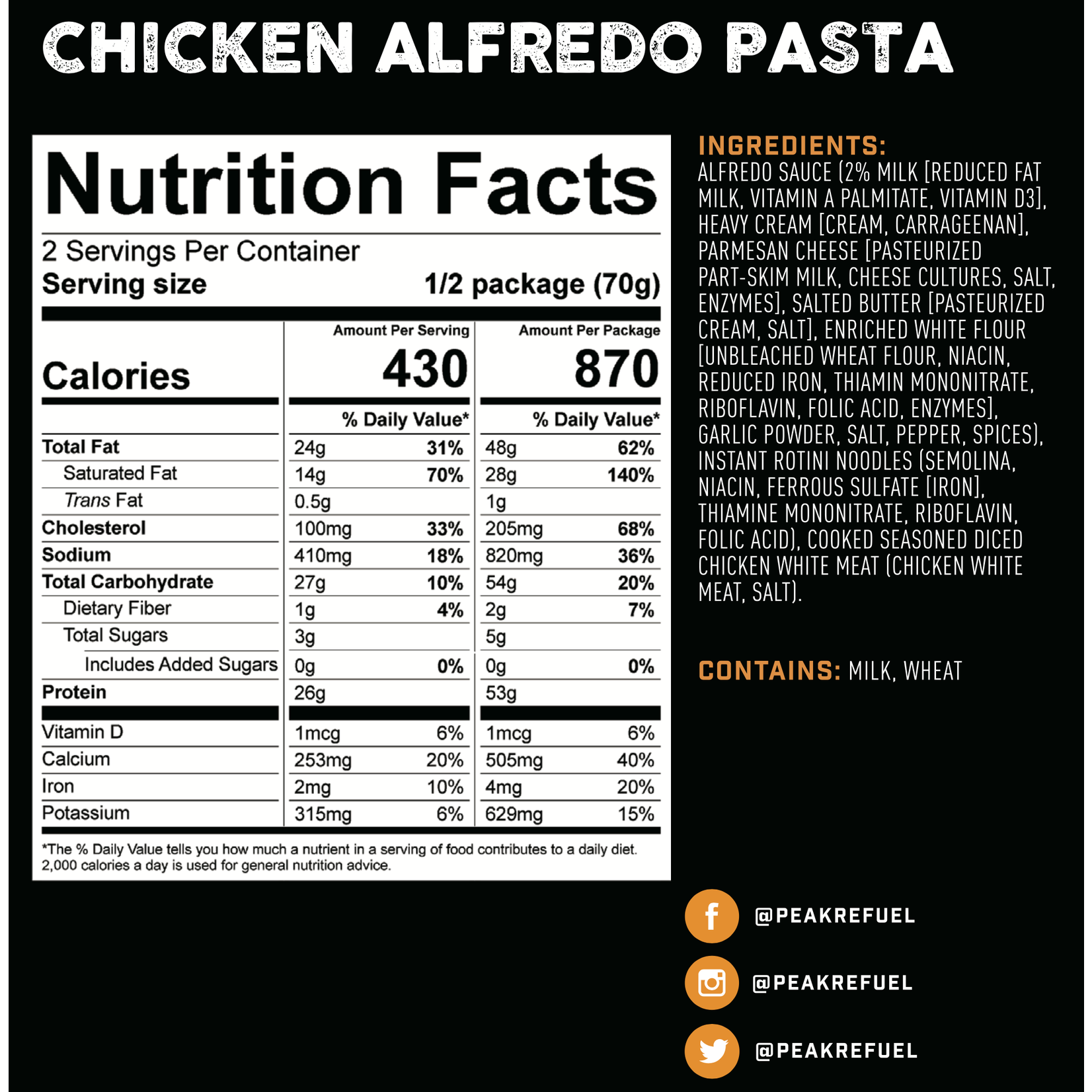 Peak Refuel Peak ReFuel Chicken Alfredo Pasta Meal