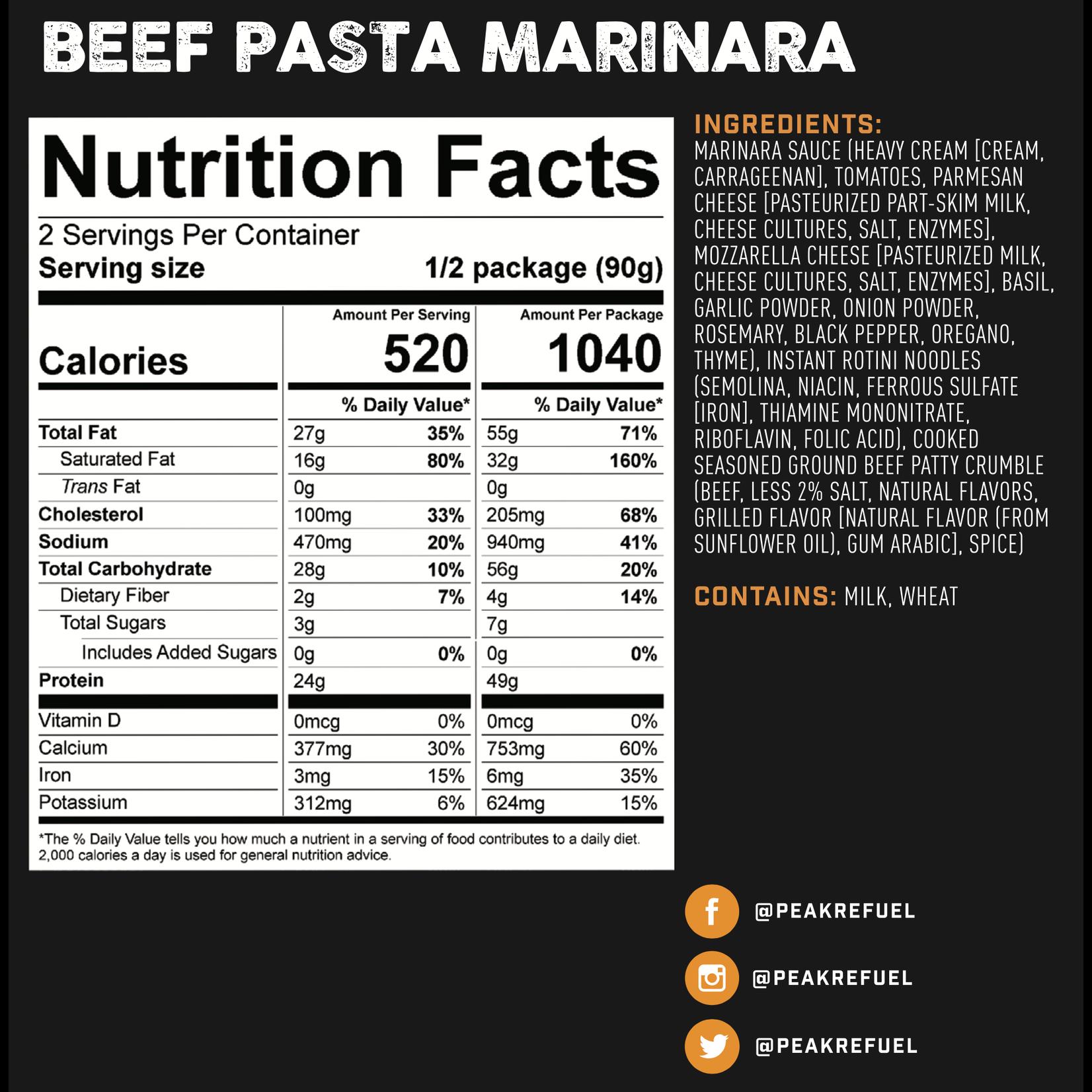 Peak Refuel Peak ReFuel Beef Pasta Marinara Meal