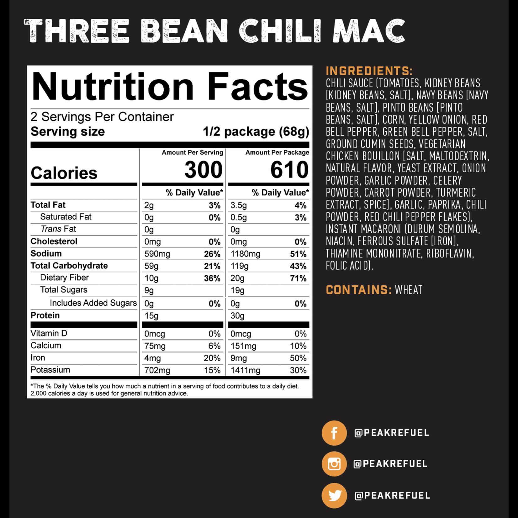 Peak Refuel Peak ReFuel Three Bean Chili Mac Meal (Vegan)