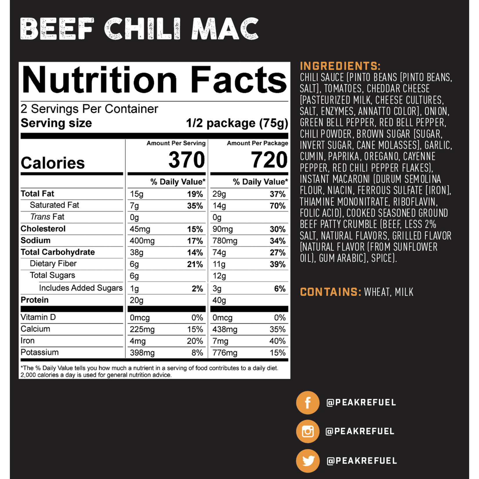 Peak Refuel Peak ReFuel Beef Chili Mac Meal