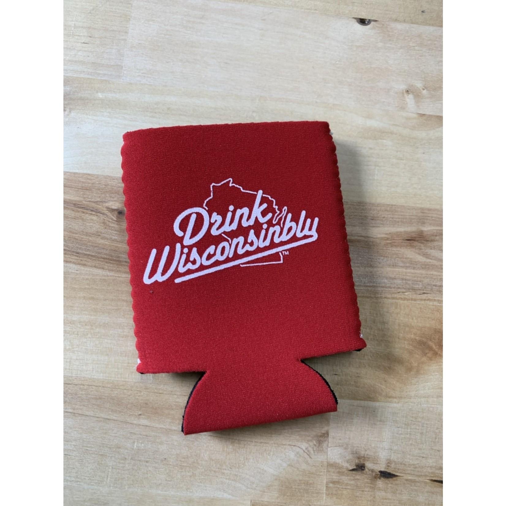 Drink Wisconsinbly Koozie Red/White