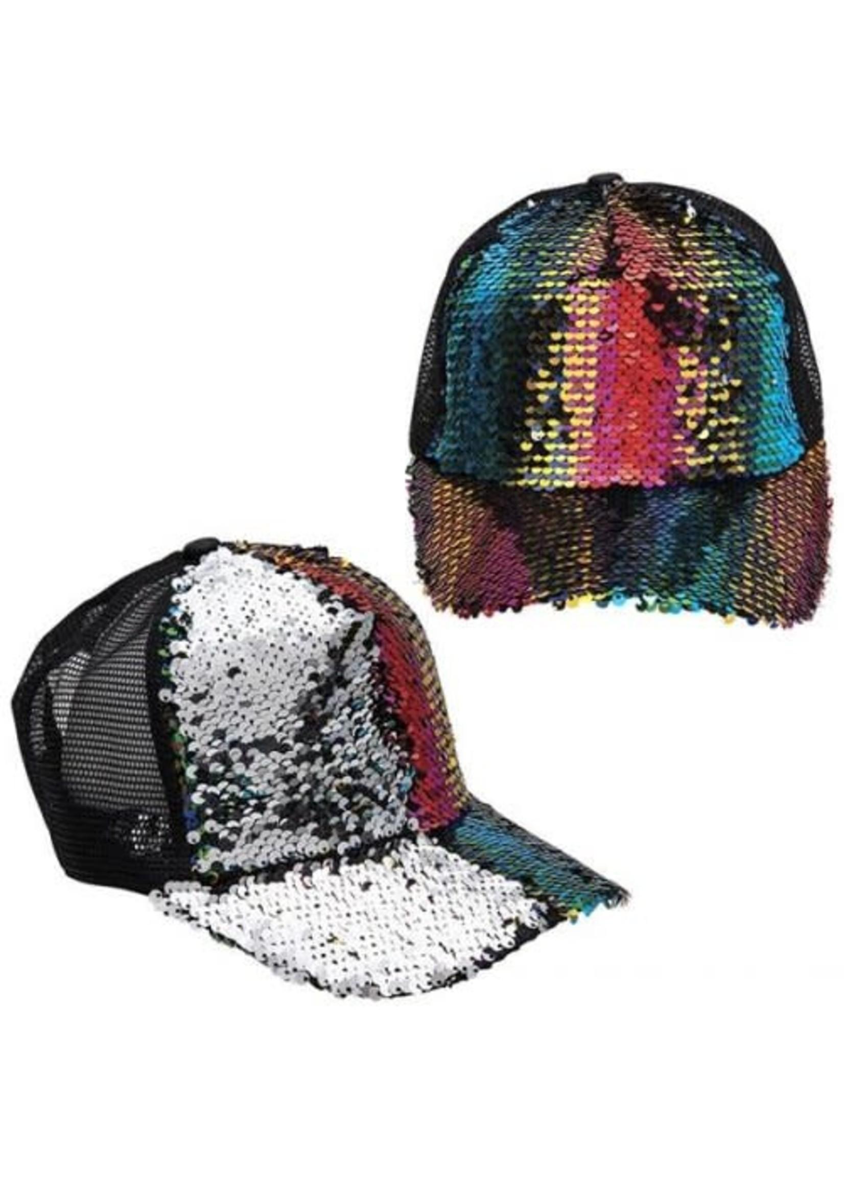 Rainbow Sequin Trucker Hat