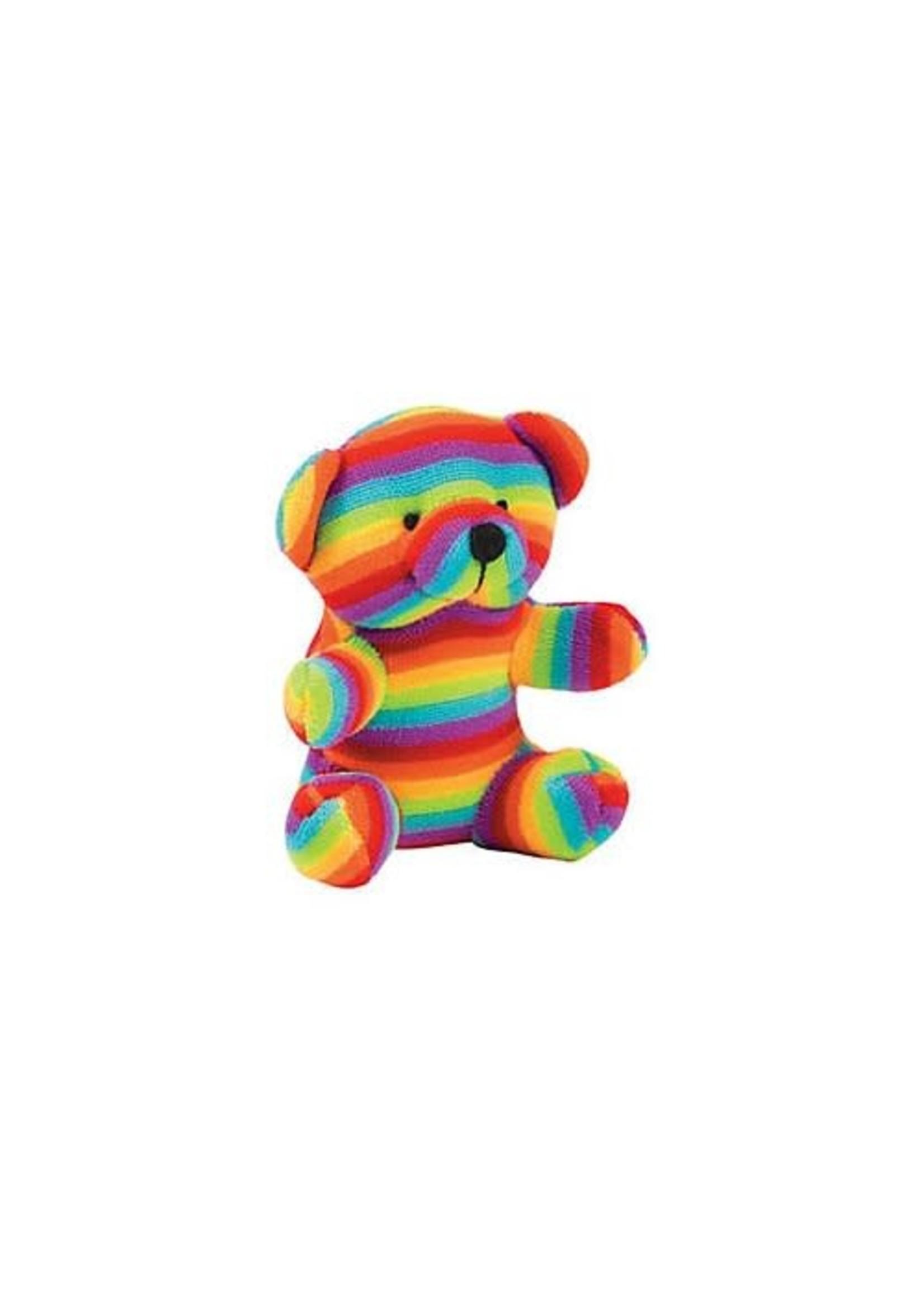 "Plush Rainbow Striped Bear 4"""