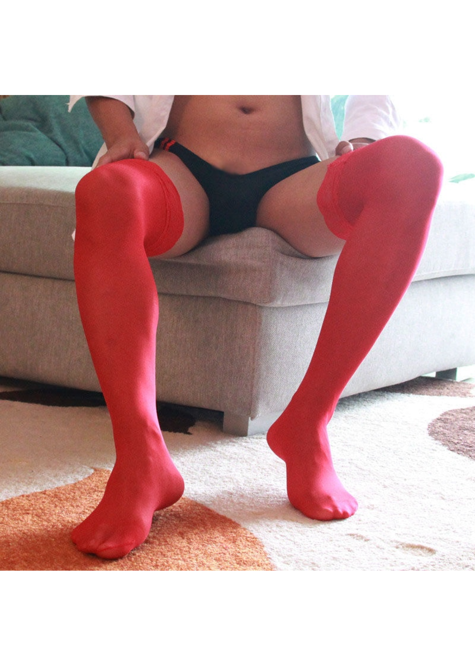 Men's Lace Thigh High Stockings