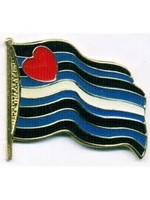 Leather Wavy Flag Lapel Pin