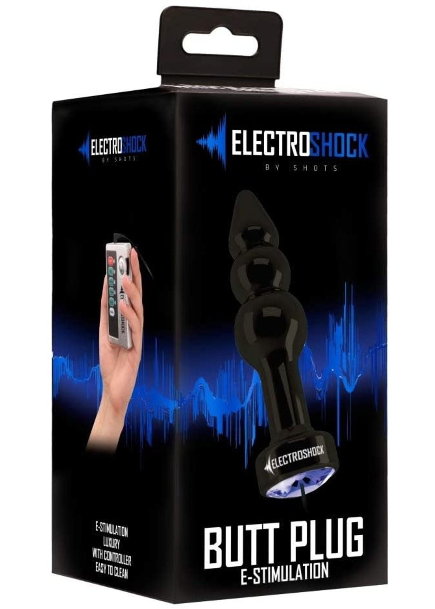Electroshock Electroshock Ribbed Butt Plug Gun Grey