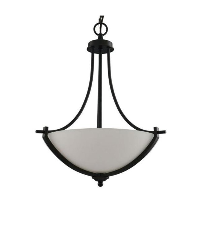Hampton Bay Hampton Bay Pendant with White Frosted Glass Shade Bronze