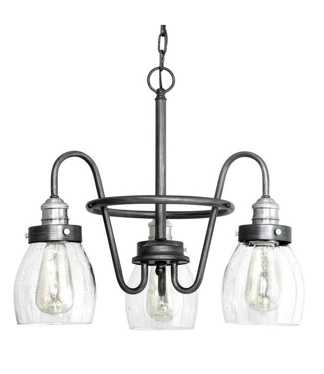 Progress Lighting Crofton Rustic Pewter Chandelier with Brushed Nickel Accents and Clear Seeded Glass