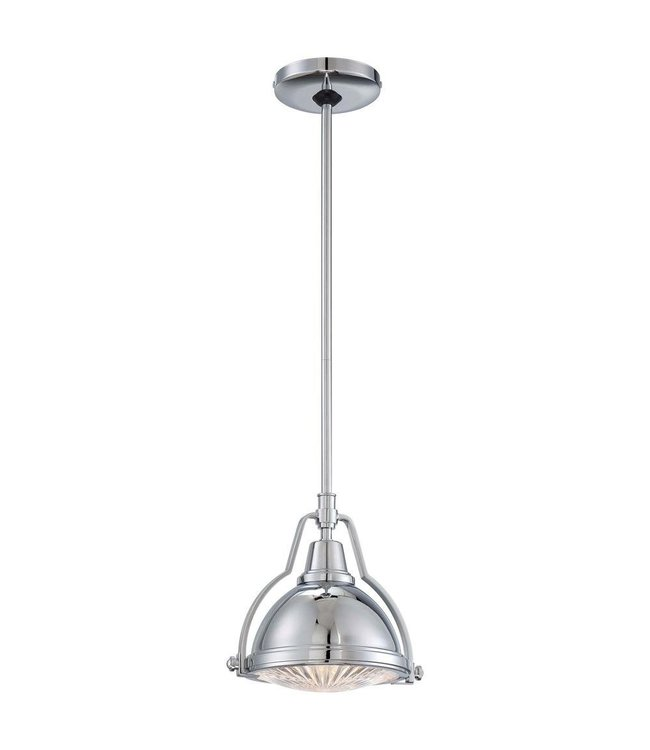 Home Decorations Collection Karnes Brushed Nickel Mini Pendant with Shade and Clear Ribbed Glass