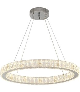 Home Decorations Collection 24 in.  LED Pendant with Clear Crystals Chrome