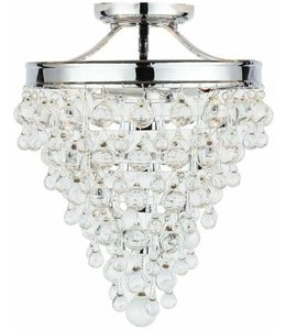 Home Decorations Collection Milton 3-Light Crystal Semi-Flush Mount Chrome