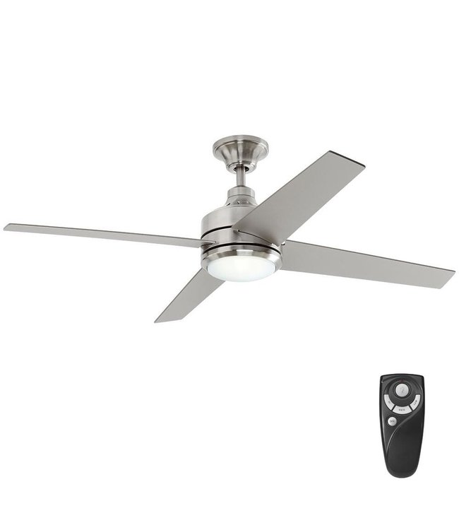Home Decorations Collection Mercer 52 in. Indoor Ceiling Fan with Light Kit Brushed Nickel