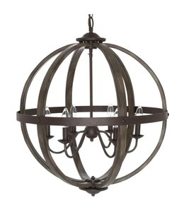Home Decorations Collection Keowee 6-Light Artisan Iron Orb Chandelier with Elm Wood Accents