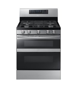 SAMSUNG Samsung 30 in. 5.8 cu. Dual Door Gas Range Double Oven Black and Stainless