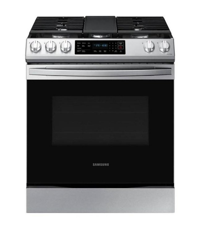 SAMSUNG Samsung 30 in. 6.0 cu. ft. Slide-In Gas Range with Air Fry and Fan Convection Stainless Steel