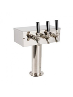 """Foxx """"T"""" Tower - Air Cooled - Stainless, 3"""" OD Round x 12"""" Wide - 3 Faucet (Chromed Brass)"""