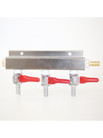 """Kegging 3-Way CO2 Distributor with 3/8"""" Barbed Shut-offs (With Check Valves)"""