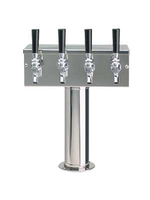 """Foxx """"T"""" Tower - Air Cooled - Stainless, 3"""" OD Round x 12"""" Wide - 4 Faucet (Chromed Brass)"""