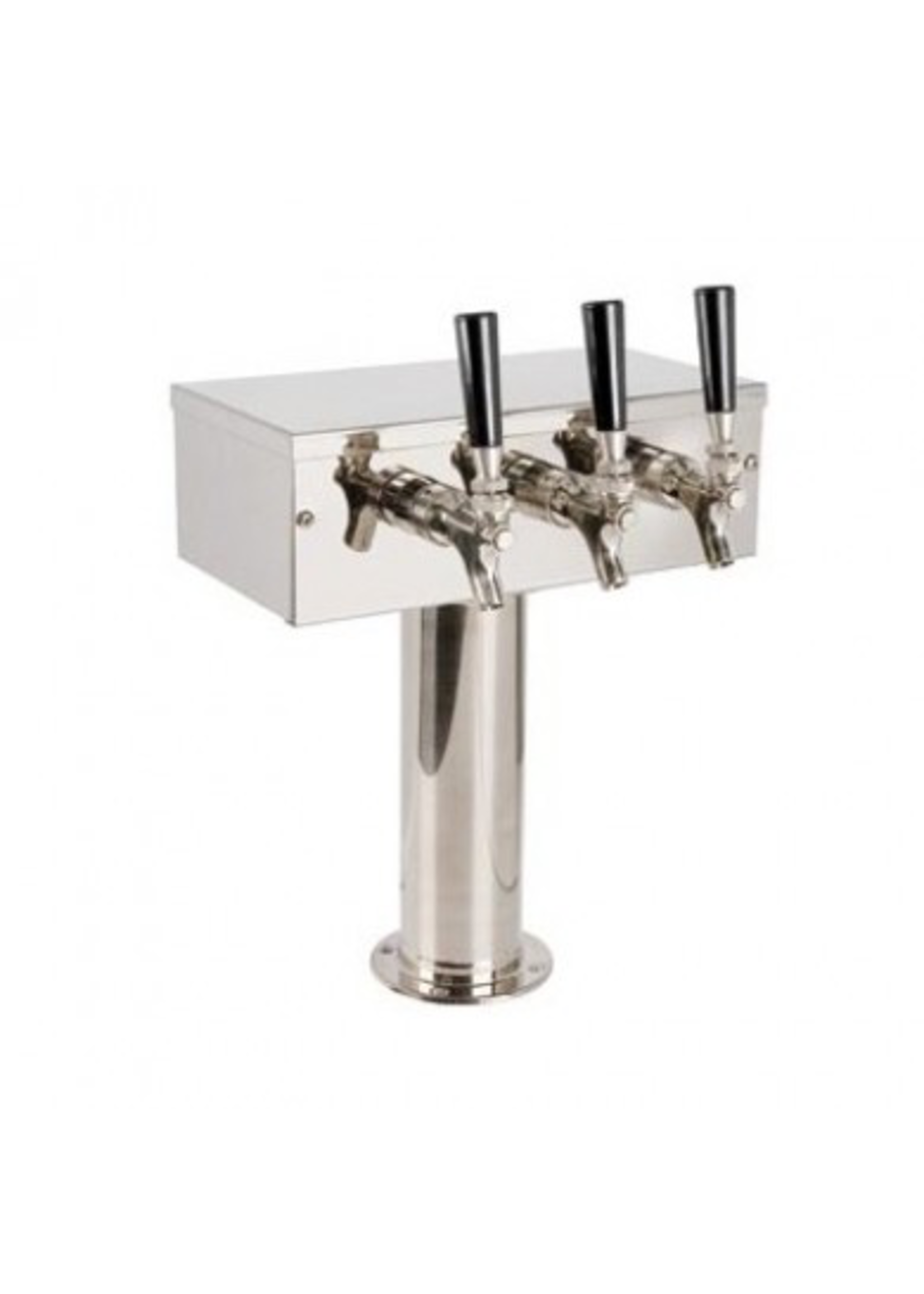 """Foxx """"T"""" Tower - Glycol Cooled - Stainless, 3"""" OD Round x 12"""" Wide - 3 Faucet (Chromed Brass)"""